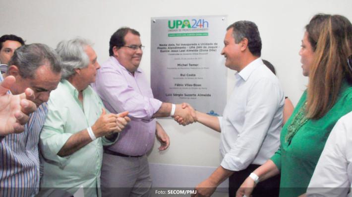 Governador Rui Costa e prefeito Sergio Gameleira no na hora da inauguração